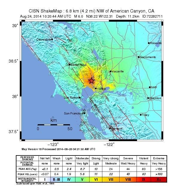 Stat for the Napa earthquake